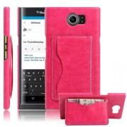 BLACKBERRY PRIV læder bag cover med kort lommer, rosa Mobiltelefon tilbehør