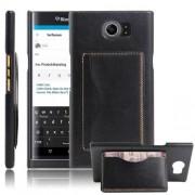 BLACKBERRY PRIV læder bag cover med kort lommer, sort Mobiltelefon tilbehør