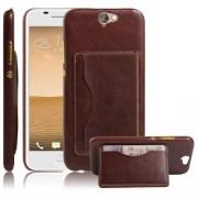 HTC ONE A9 læder bag cover med kort lomme, brun Mobiltelefon tilbehør
