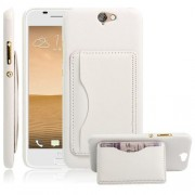 HTC ONE A9 læder bag cover med kort lomme, hvid Mobiltelefon tilbehør