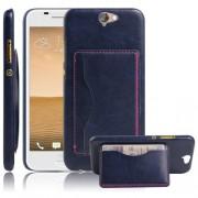 HTC ONE A9 læder bag cover med kort lomme, mørkeblå Mobiltelefon tilbehør