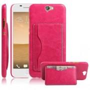 HTC ONE A9 læder bag cover med kort lomme, rosa Mobiltelefon tilbehør