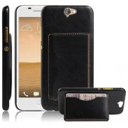 HTC ONE A9 læder bag cover med kort lomme, sort Mobiltelefon tilbehør