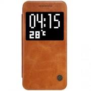 HTC ONE A9 læder cover med vindue i business stil, brun Mobiltelefon tilbehør