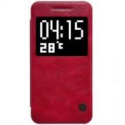 HTC ONE A9 læder cover med vindue i business stil, rød Mobiltelefon tilbehør
