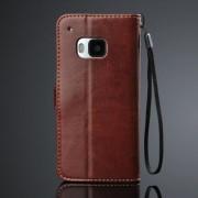 HTC ONE M9 læder pung cover, brun Mobiltelefon tilbehør