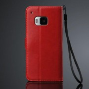 HTC ONE M9 læder pung cover, rød Mobiltelefon tilbehør