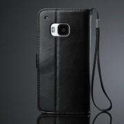 HTC ONE M9 læder pung cover, sort Mobiltelefon tilbehør