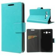 HUAWEI ASCEND Y530 læder cover med kort lommer, blå Mobiltelefon tilbehør