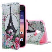 HUAWEI ASCEND Y550 læder pung cover mønstret, Eiffel Tower and Flowers Mobiltelefon tilbehør