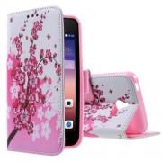 HUAWEI ASCEND Y550 læder pung cover mønstret, Plum Blossom Mobiltelefon tilbehør