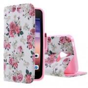 HUAWEI ASCEND Y550 læder pung cover mønstret, Vivid Flowers Mobiltelefon tilbehør