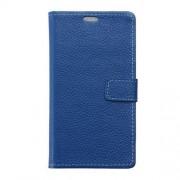 HUAWEI MATE 8 full grain læder cover med kort lommer, blå Mobiltelefon tilbehør