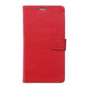 HUAWEI MATE 8 full grain læder cover med kort lommer, rød Mobiltelefon tilbehør