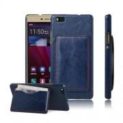 HUAWEI P8 LITE læder bag cover med kort lomme, blå Mobiltelefon tilbehør