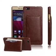 HUAWEI P8 LITE læder bag cover med kort lomme, brun Mobiltelefon tilbehør