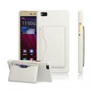 HUAWEI P8 LITE læder bag cover med kort lomme, hvid Mobiltelefon tilbehør