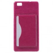 HUAWEI P8 LITE læder bag cover med kort lomme, rosa Mobiltelefon tilbehør