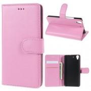 HUAWEI Y6 læder cover med kort lommer, pink Mobiltelefon tilbehør