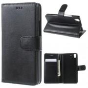 HUAWEI Y6 læder cover med kort lommer, sort Mobiltelefon tilbehør