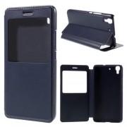 HUAWEI Y6 læder cover med vindue, blå Mobiltelefon tilbehør