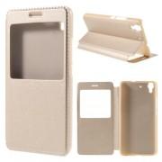 HUAWEI Y6 læder cover med vindue, champagne Mobiltelefon tilbehør