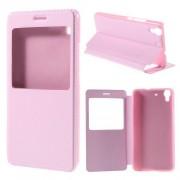 HUAWEI Y6 læder cover med vindue, pink Mobiltelefon tilbehør