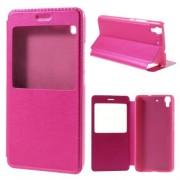 HUAWEI Y6 læder cover med vindue, rosa Mobiltelefon tilbehør