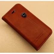 IPHONE 5S retro læder cover med kort lomme, rødbrun Mobiltelefon tilbehør