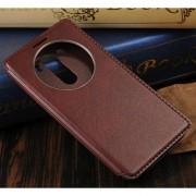 LG G3 læder cover med vindue, brun Mobiltelefon tilbehør