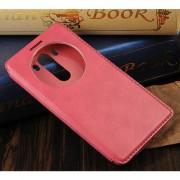 LG G3 læder cover med vindue, pink Mobiltelefon tilbehør