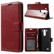 LG G3 S læder cover med lommer, rød Mobiltelefon tilbehør
