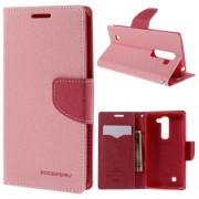 LG G4C læder cover med kort lommer, pink Mobiltelefon tilbehør