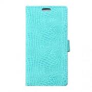 LG V10 læder cover med alligator mønstrer, lyseblå Mobiltelefon tilbehør