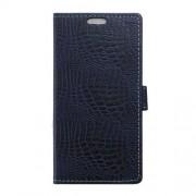 LG V10 læder cover med alligator mønstrer, mørkeblå Mobiltelefon tilbehør