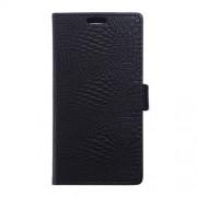 LG V10 læder cover med alligator mønstrer, sort Mobiltelefon tilbehør