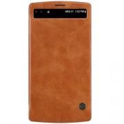LG V10 læder cover med vindue, brun Mobiltelefon tilbehør