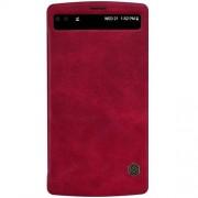 LG V10 læder cover med vindue, rød Mobiltelefon tilbehør