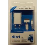 Oplader kit USB lightning, 30 pin, mikro kabel Mobiltelefon tilbehør