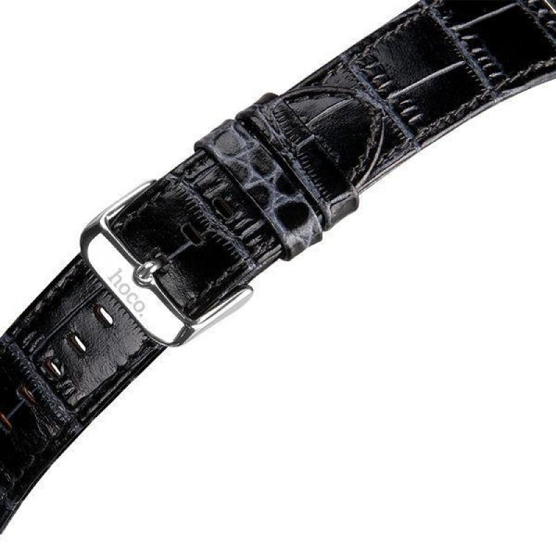 28c99387460 ... APPLE WATCH 42 MM krokodille mønstret læder urrem med montage beslag. sort  Smartwatch tilbehør ...