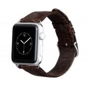 APPLE WATCH 42 MM krokodille mønstret læder urrem med montage beslag. mørkebrun Smartwatch tilbehør