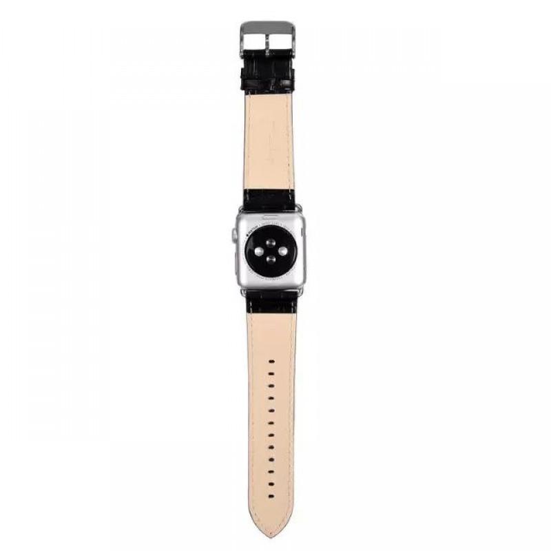 be0f5a40510 ... APPLE WATCH 42 MM blød læder urrem med montage beslag, sort Smartwatch  tilbehør ...