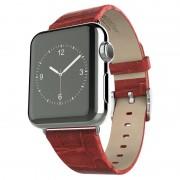 APPLE WATCH 42 MM Hoco bambus serie læder urrem med beslag, rød Smartwatch tilbehør