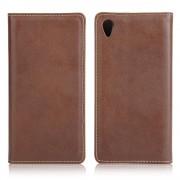 SONY XPERIA Z5  læder cover med kort holder, brun Mobiltelefon tilbehør