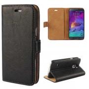 SAMSUNG GALAXY NOTE 4 læder cover med kort holder sort Mobiltelefon tilbehør