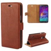 SAMSUNG GALAXY NOTE 4 læder cover med kort holder mørkebrun Mobiltelefon tilbehør