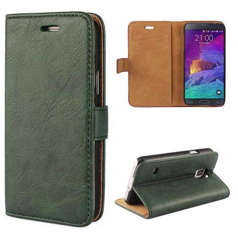 Samsung Galaxy Note 4 Laeder Cover Med Kort Holder Gron