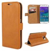 SAMSUNG GALAXY S6 edge læder pung cover lysebrun, Mobiltelefon tilbehør