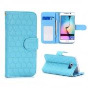 SAMSUNG GALAXY S6 edge læder pung cover med mønster blå, Mobiltelefon tilbehør