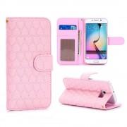 SAMSUNG GALAXY S6 edge læder pung cover med mønster pink, Mobiltelefon tilbehør